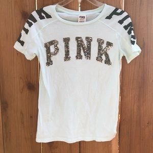 VS PINK mint color bling tee